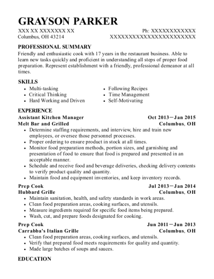 Assistant Kitchen Manager resume format Ohio