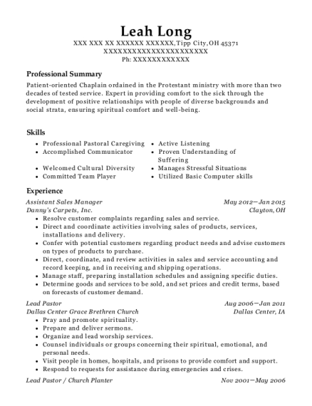 Assistant Sales Manager resume example Ohio
