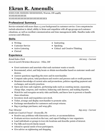 Retail Sales Clerk resume example Ohio
