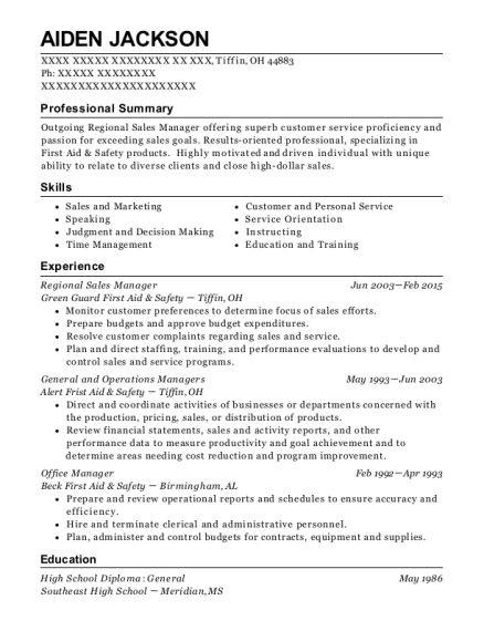 Regional Sales Manager resume sample Ohio