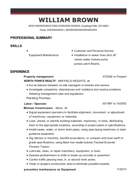 Property Management resume format Ohio