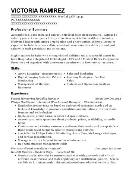 Patient Monitoring Modality Manager resume sample Ohio