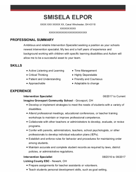 Intervention Specialist resume template Ohio