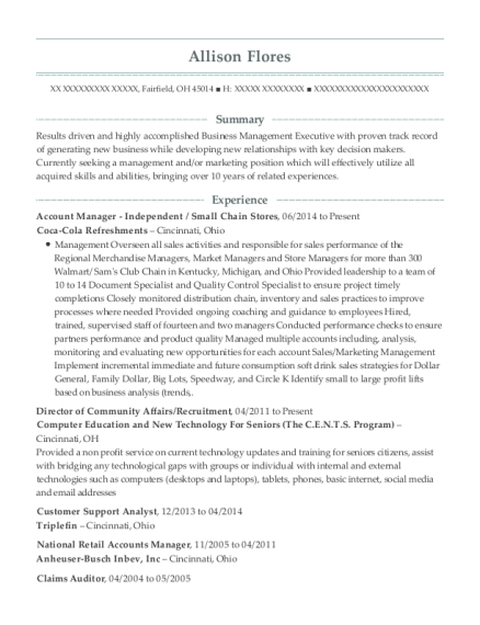 Account Manager Independent resume example Ohio