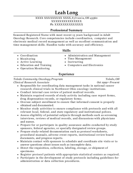 Clinical Research Associate resume format Ohio