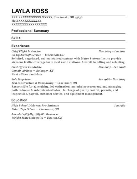 Chief Flight Instructor resume sample Ohio