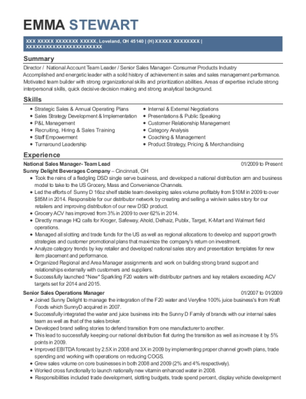 National Sales Manager Team Lead resume example Ohio
