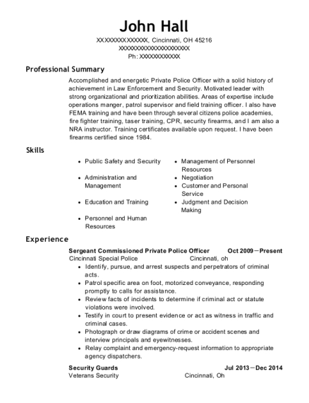 Sergeant Commissioned Private Police Officer resume sample Ohio