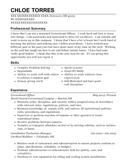 Correctional Officer resume format Ohio