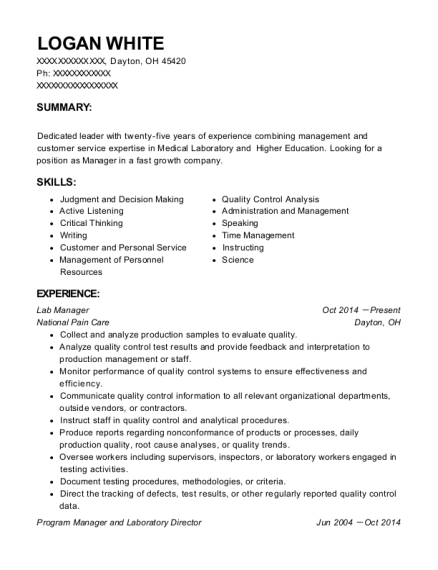 Lab Manager resume template Ohio