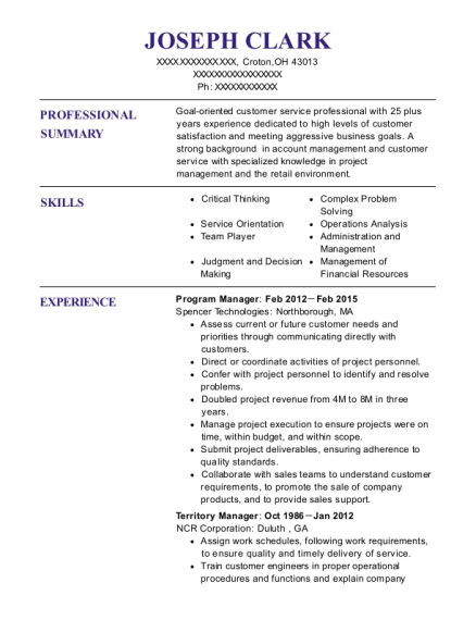 Program Manager resume sample Ohio
