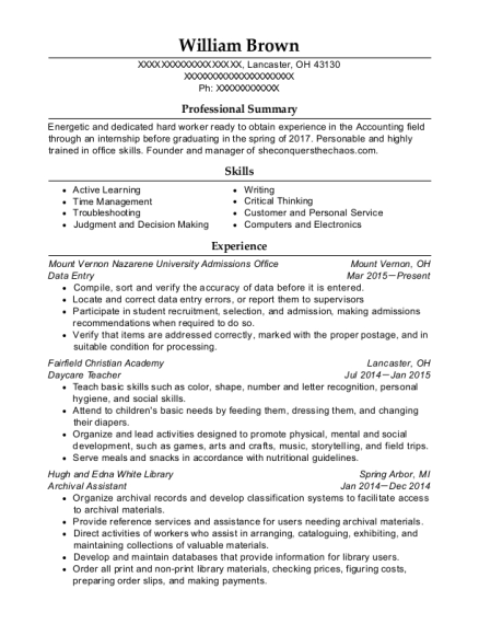 Data Entry resume format Ohio