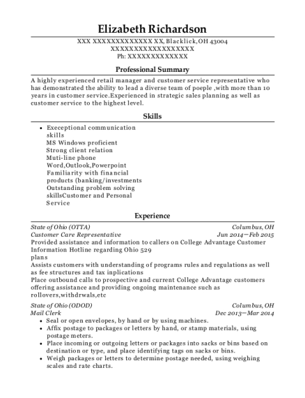 Customer Care Representative resume format Ohio