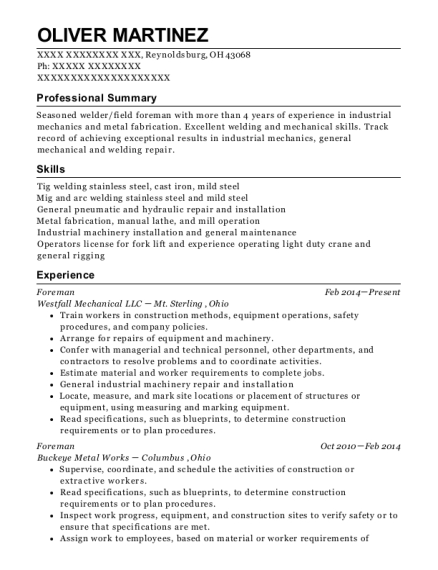Foreman resume sample Ohio