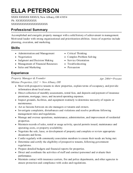 Property Manager & Founder resume format Ohio