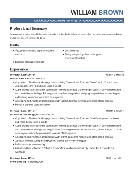 Mortgage Loan Officer resume example Ohio