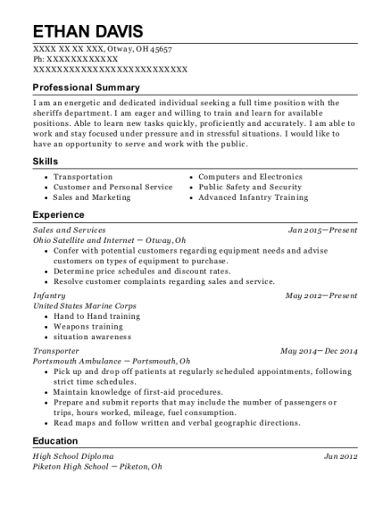 Sales and Services resume example Ohio