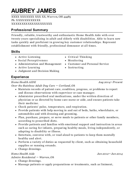 Home Health Aide resume format Ohio
