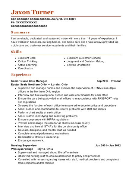 Senior Nurse Care Manager resume format Ohio