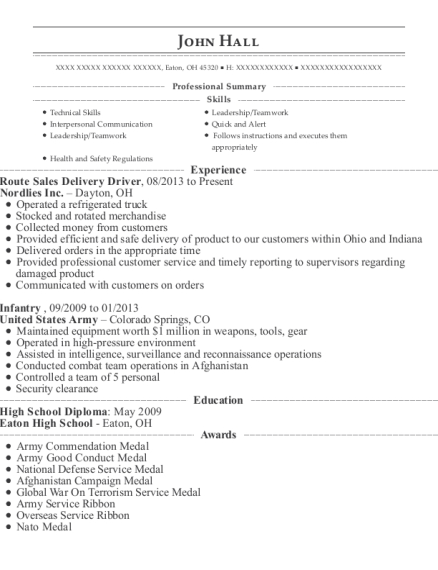 Route Sales Delivery Driver resume sample Ohio