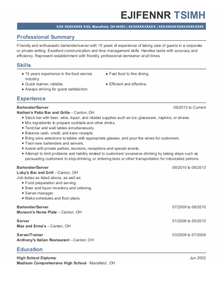 Bartender resume template Ohio