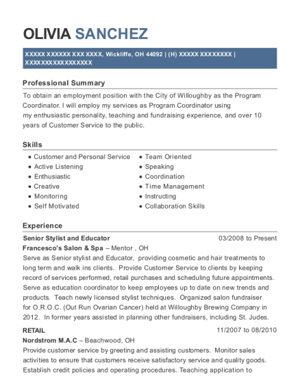 Senior Stylist and Educator resume format Ohio