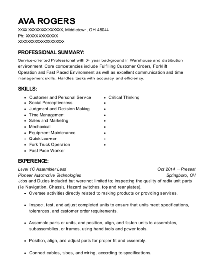 Level 1C Assembler Lead resume example Ohio