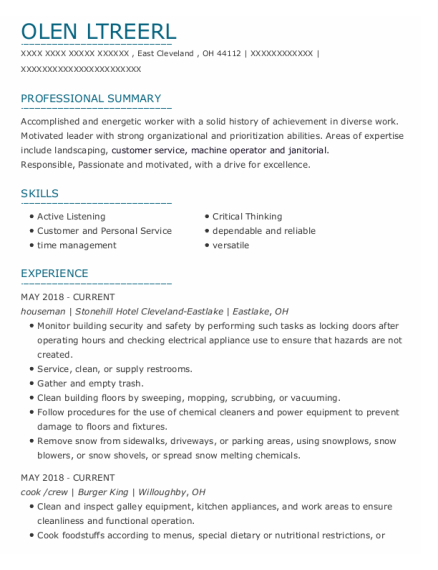 Houseman resume template Ohio