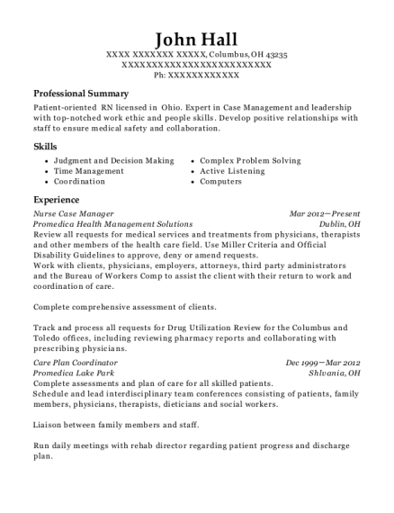 Nurse Case Manager resume template Ohio
