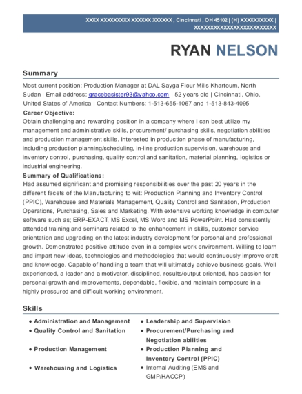 Production Manager resume template Ohio