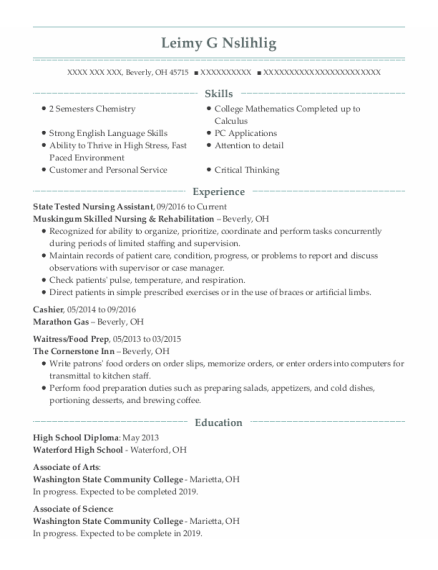 State Tested Nursing Assistant resume example Ohio
