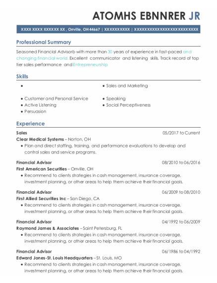 Sales resume template Ohio