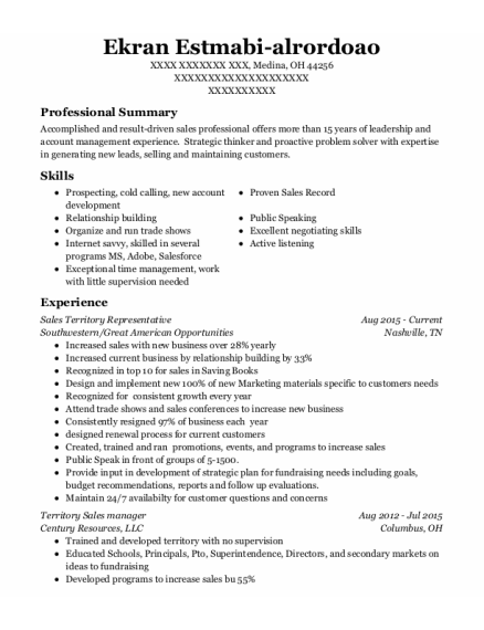 Territory Sales Manager resume template Ohio
