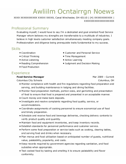 Food Service Manager resume sample Ohio