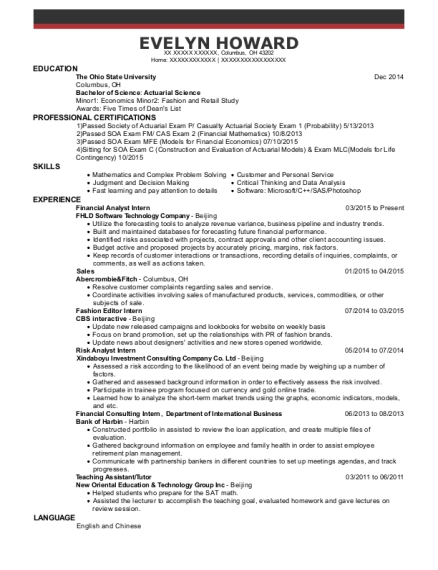 Financial Analyst Intern resume format Ohio