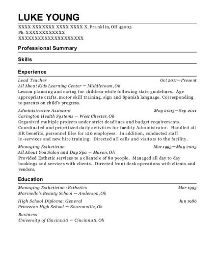 Lead Teacher resume template Ohio
