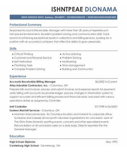 Accounts Receivable resume template Ohio