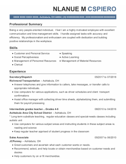 Secretary resume template Ohio