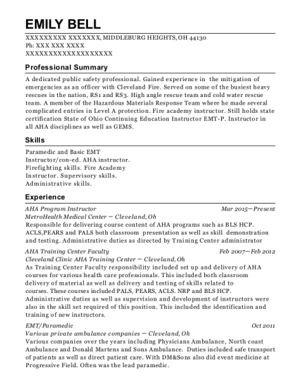 AHA Program Instructor resume example Ohio