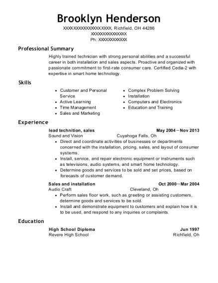 lead technition resume template Ohio