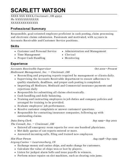 Accounts Receivable Supervisor resume example Ohio