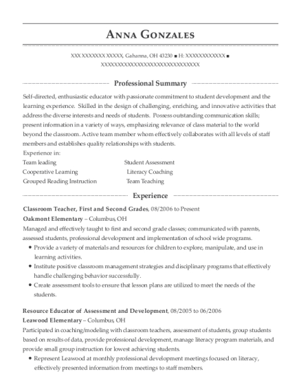 Classroom Teacher resume example Ohio