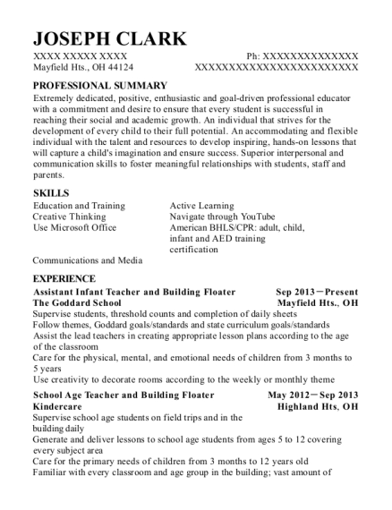 Assistant Infant Teacher and Building Floater resume example Ohio