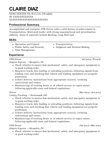 OTR Driver resume sample Ohio