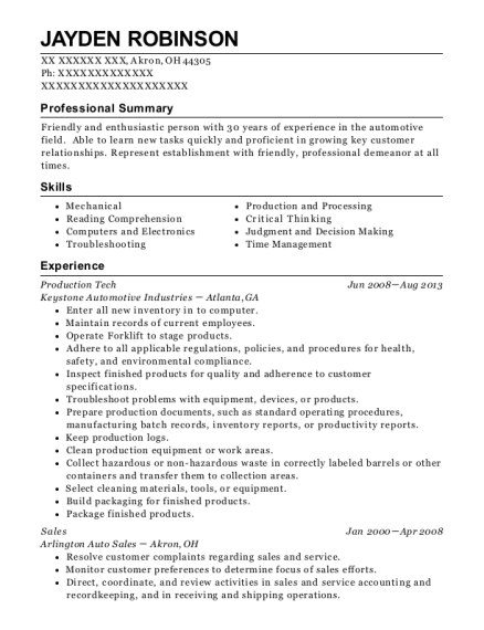 Production Tech resume example Ohio