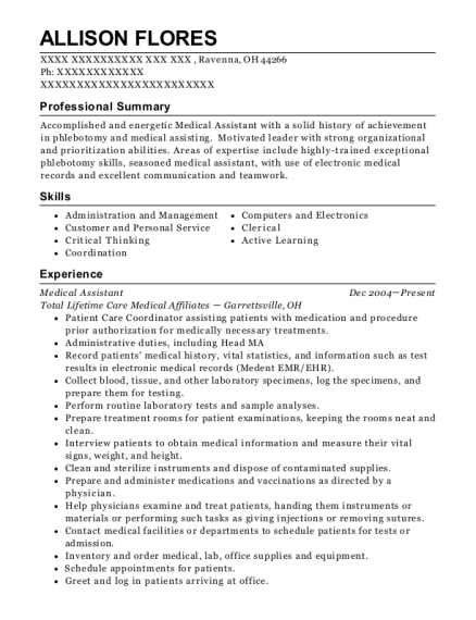 Medical Assistant resume example Ohio