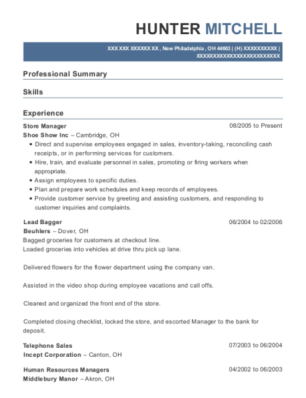 Store Manager resume format Ohio