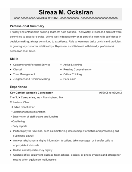 Key Carrier resume template Ohio