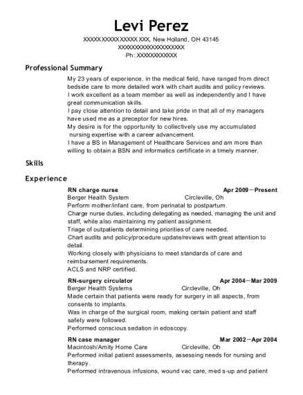 RN charge nurse resume example Ohio