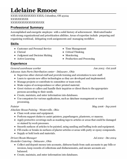 General Warehouse Worker resume example Ohio